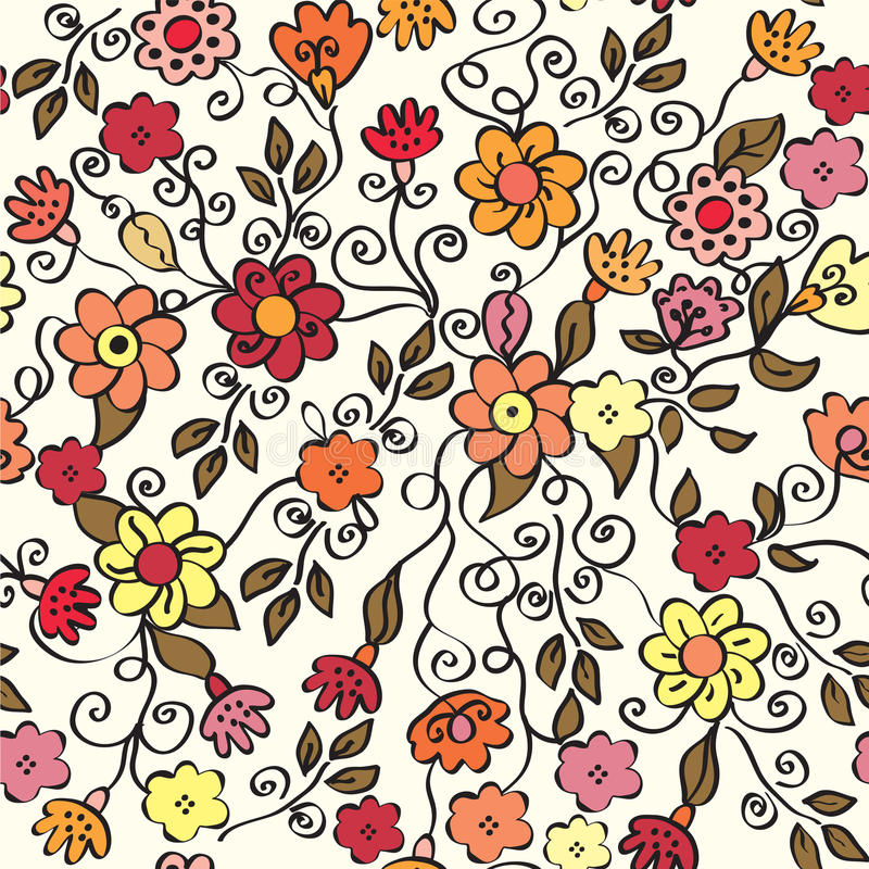 Teste padrão sem emenda ornamentado floral ilustração do vetor