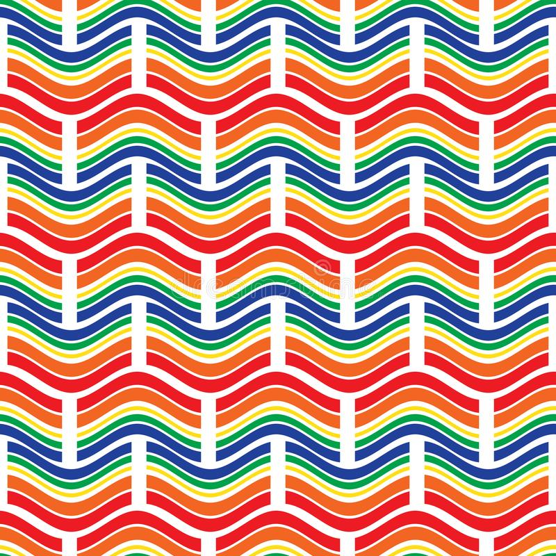 Teste padrão sem emenda Ornamento geométrico brilhante com ondas e retângulos ilustração royalty free