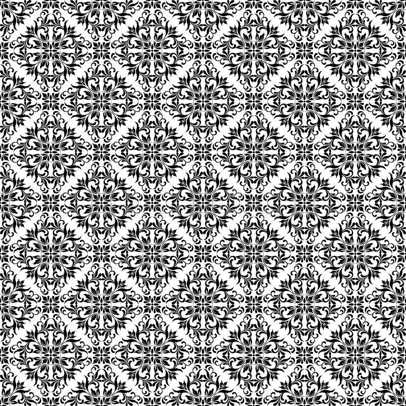 Teste padrão sem emenda Ornamento ornamentado do damasco em um fundo branco ilustração do vetor