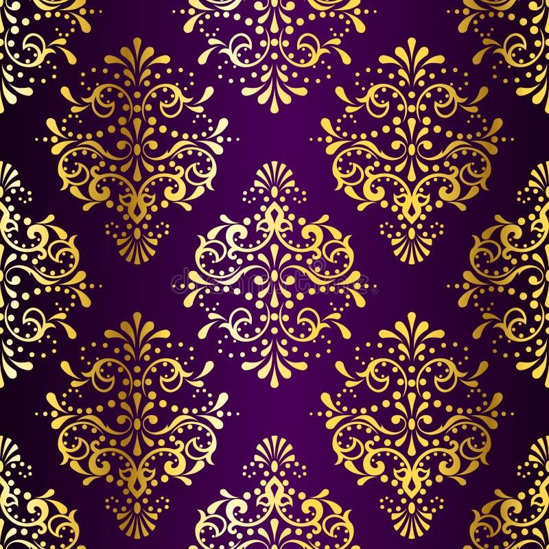 Teste padrão sem emenda Ouro-em-Roxo intricado do sari ilustração stock