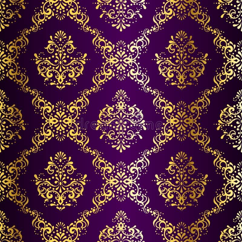 Teste padrão sem emenda Ouro-em-Roxo intricado do sari ilustração do vetor