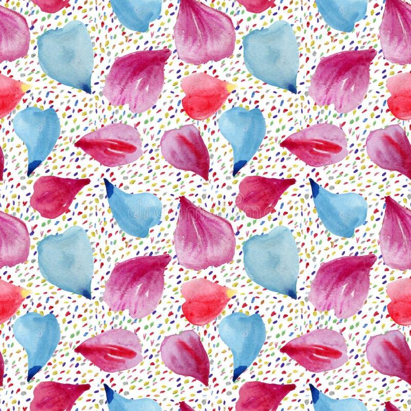 Teste padrão sem emenda: pétalas de flores cor-de-rosa, vermelhas e azuis fotografia de stock