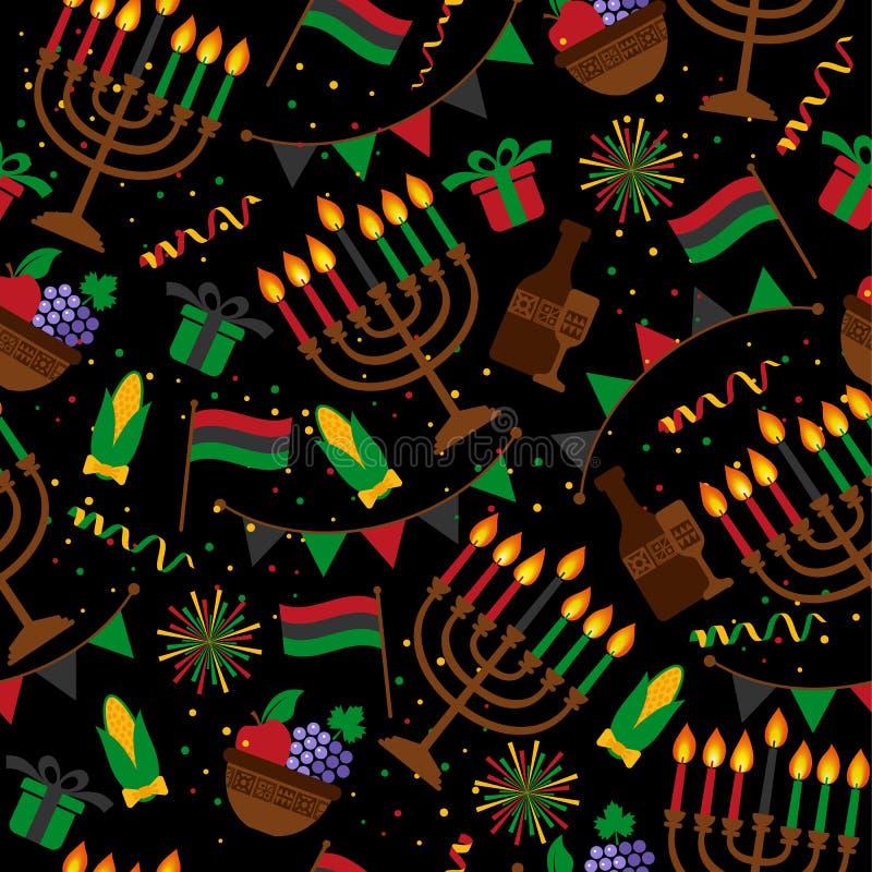 Teste padrão sem emenda para Kwanzaa com colorido tradicional e velas que representam os sete princípios ou Nguzo Saba ilustração do vetor