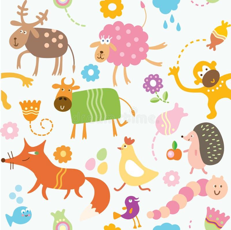 Teste padrão sem emenda para miúdos - animais ilustração stock