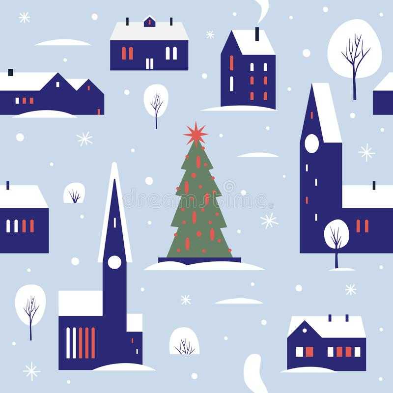 Teste padrão sem emenda para o inverno, o tema do ano novo e do Natal ilustração royalty free