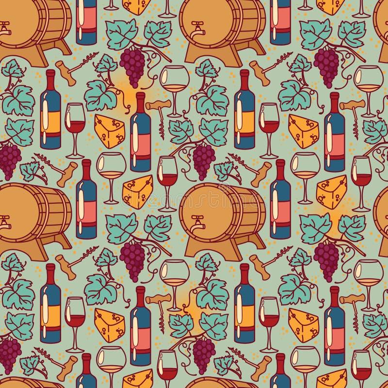 Teste padrão sem emenda para o vinho e o winemaking ilustração stock