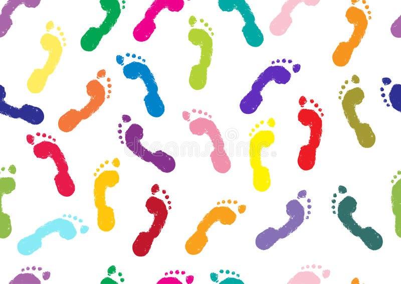 Teste padrão sem emenda Pegadas dos pés desencapados humanos do ` s ilustração stock