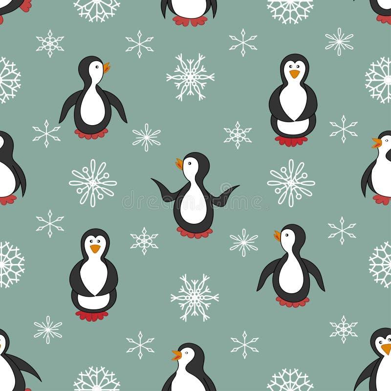 Teste padrão sem emenda Pinguins e flocos de neve ilustração stock