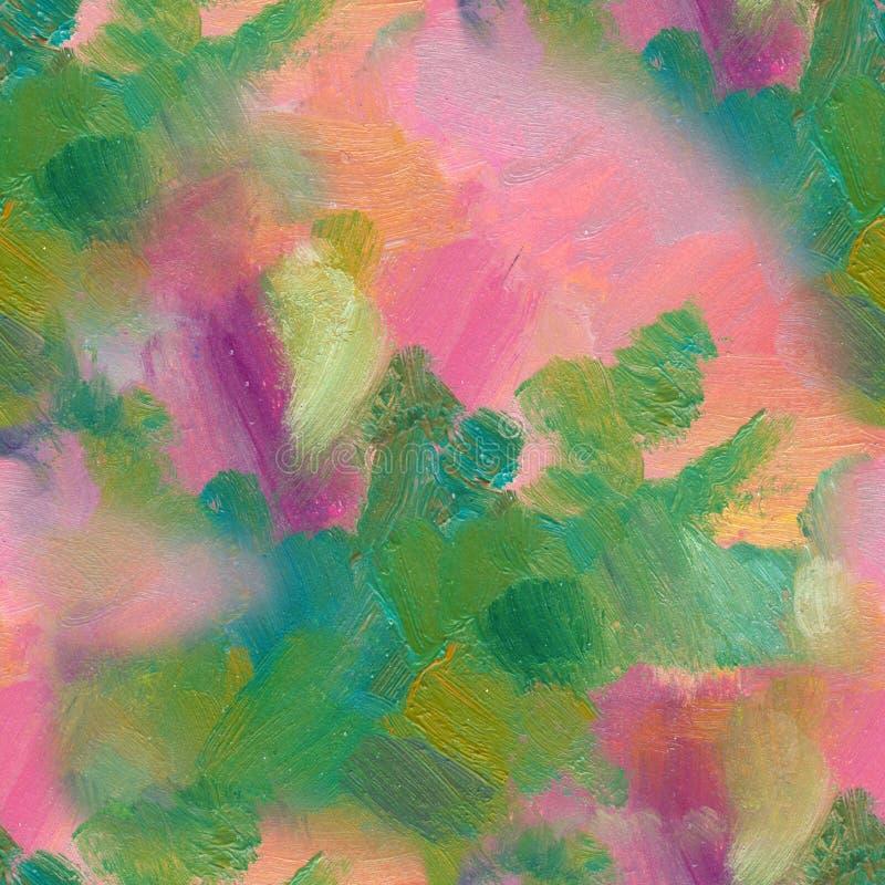 Teste padrão sem emenda Pintura acrílica tirada mão Fundo da arte abstrata Pintura acrílica na lona Textura da cor ilustração royalty free
