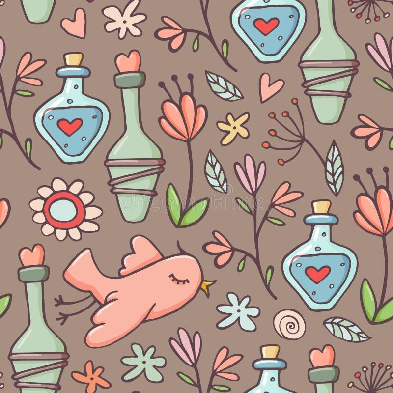 Teste padrão sem emenda, poções, pássaros, flores, marrons ilustração stock