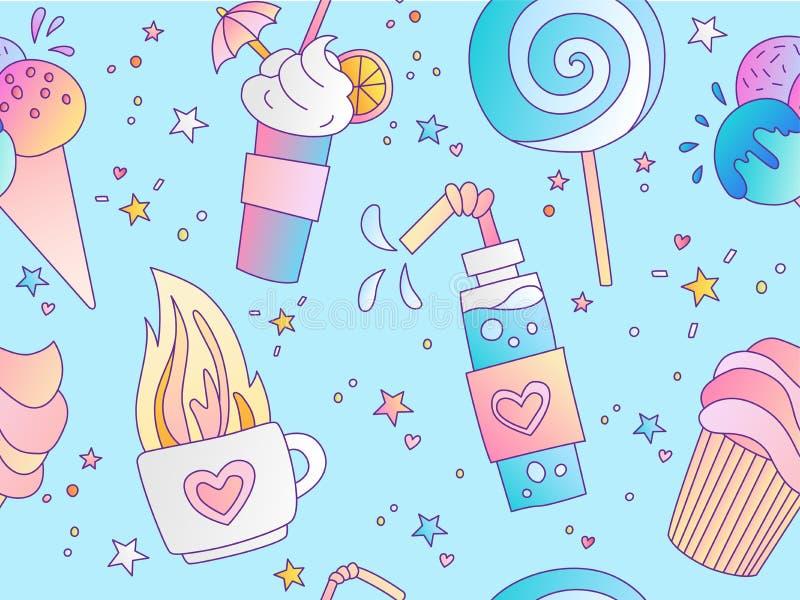 Teste padrão sem emenda positivo doce da menina e da princesa Teste padrão repetível com chá, lolipop, gelado e o bolo quentes ilustração royalty free