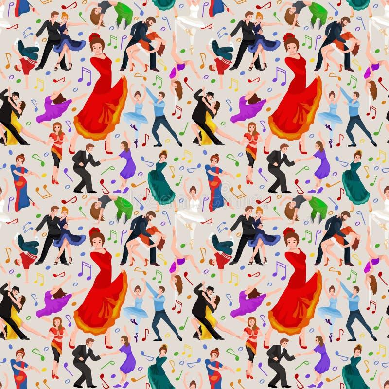 Teste padrão sem emenda Povos da dança, dançarino Bachata, Hiphop, salsa, indiano, bailado, tira, rock and roll, ruptura, flamenc ilustração royalty free