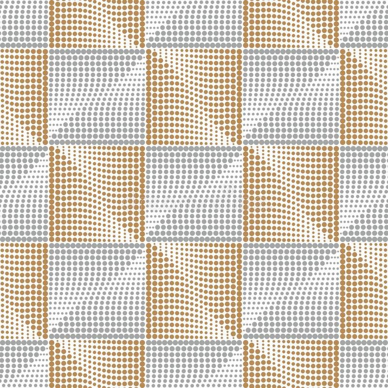 Teste padrão sem emenda prata-dourado quadrado elegante Fundo dourado abstrato geométrico Teste padrão do ouro do rombo Vetor ilustração royalty free