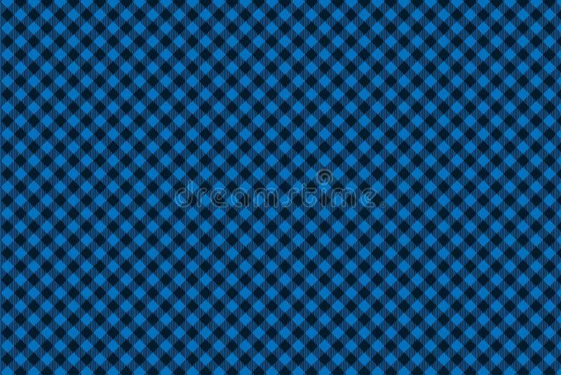 Teste padrão sem emenda preto azul da manta do lenhador ilustração do vetor