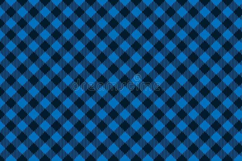 Teste padrão sem emenda preto azul da manta do lenhador ilustração stock