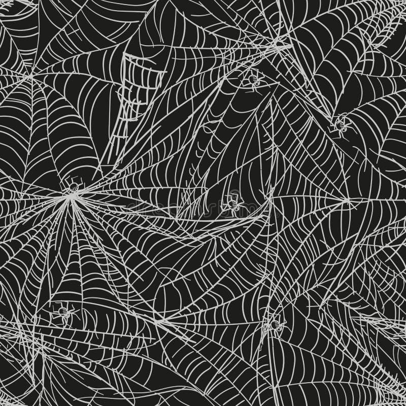 Teste padrão sem emenda preto da Web de aranha com aranhas brancas Fundo sem emenda do vetor ilustração do vetor