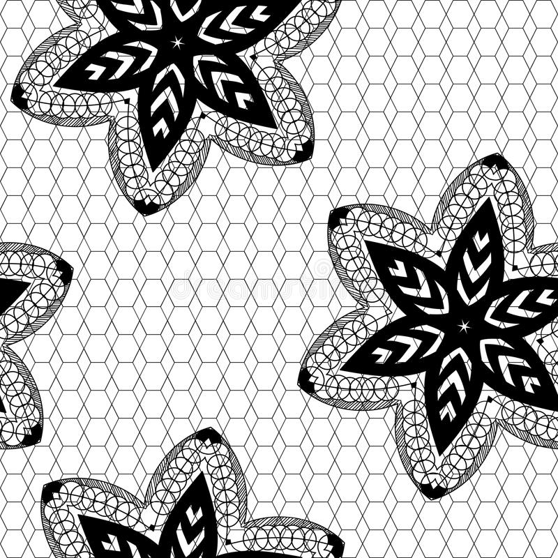 Teste padrão sem emenda preto do laço com flores ilustração stock