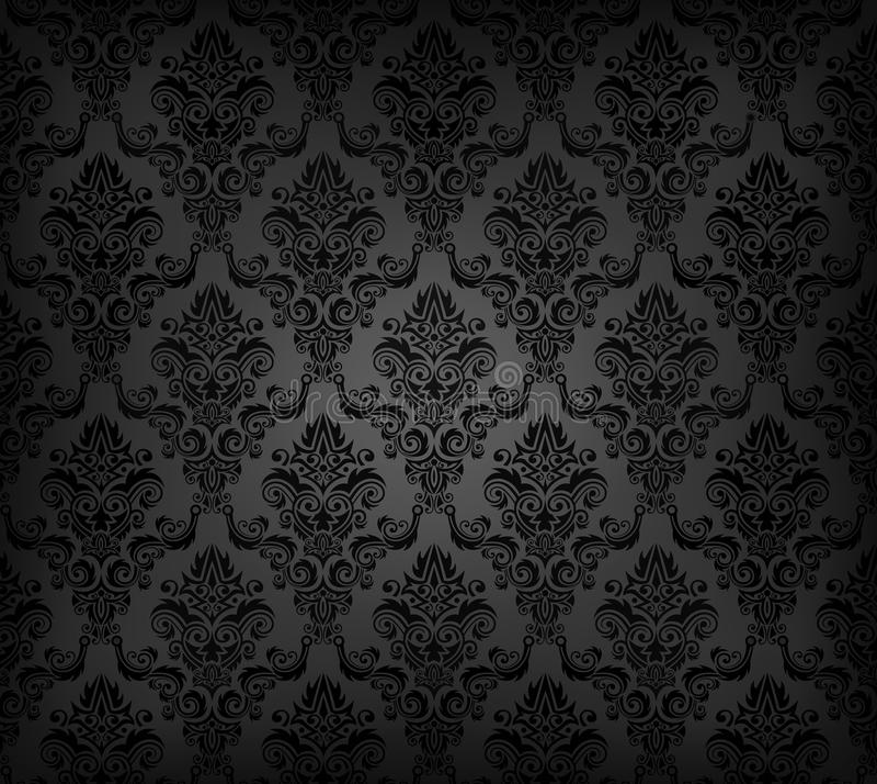 Teste padrão sem emenda preto do papel de parede ilustração stock