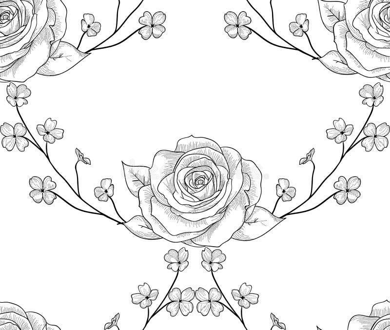 Teste padrão sem emenda preto do vetor com flores tiradas, rosas com ramos ilustração royalty free