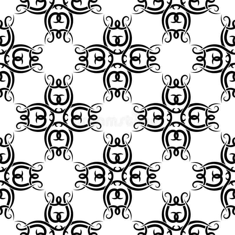 Teste padrão sem emenda preto e branco abstrato para a matéria têxtil, as telas ou os papéis de parede ilustração do vetor