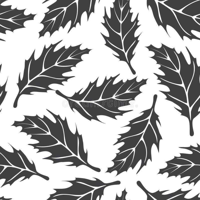 Teste padrão sem emenda preto e branco com folhas de bordo ilustração do vetor