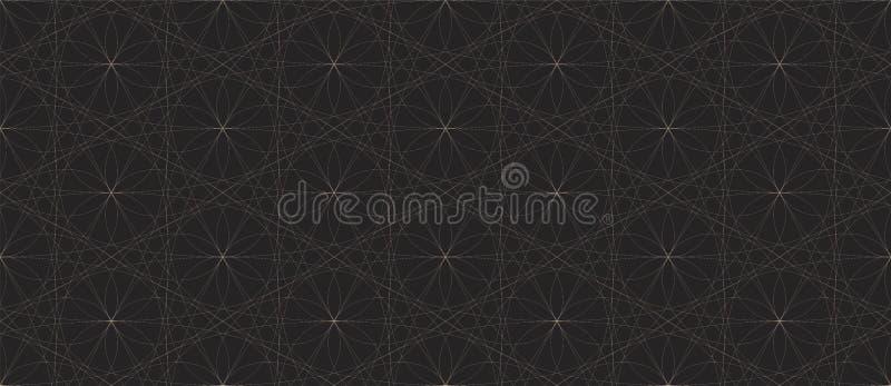 Teste padrão sem emenda preto e branco com linhas de cruzamento curvadas vetor ilustração stock