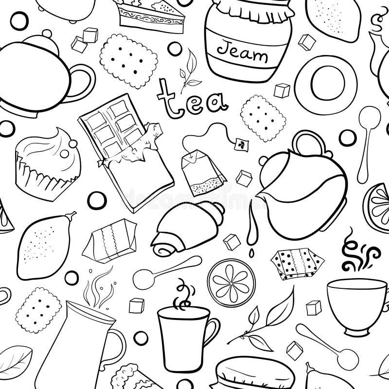 Teste padrão sem emenda preto e branco do chá e dos doces ilustração do vetor