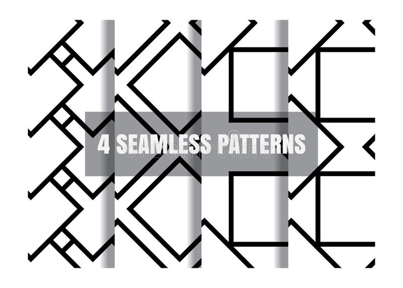 Teste padrão sem emenda preto e branco geométrico simples minimalistic ilustração royalty free
