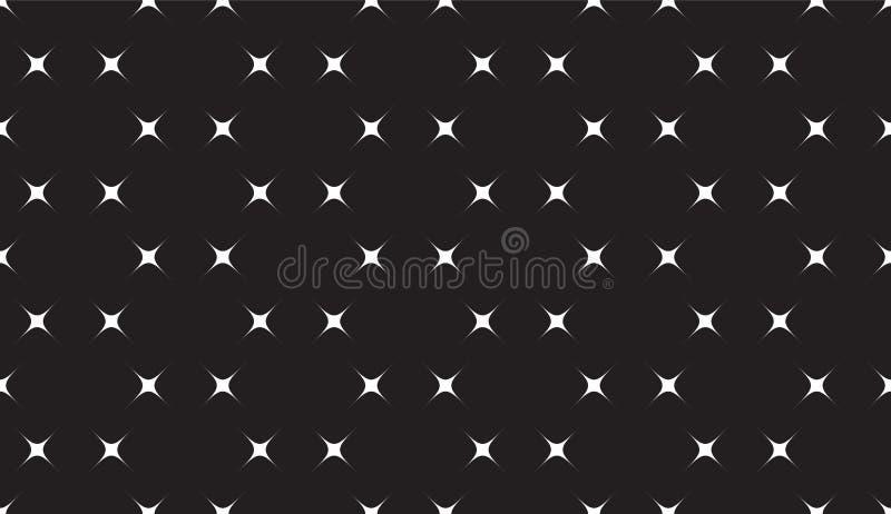 Teste padrão sem emenda preto e branco simples com estrelas ilustração royalty free