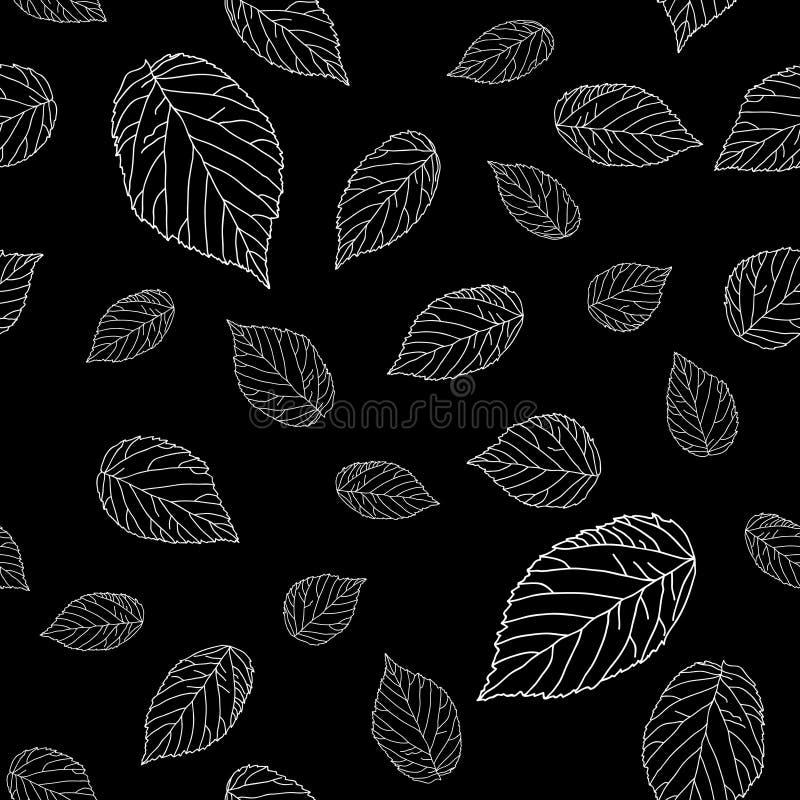 Teste padrão sem emenda preto e branco simples com folhas da framboesa monocromático ilustração do vetor