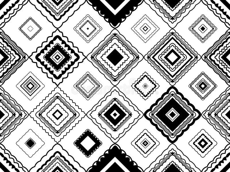 Teste padrão sem emenda preto e branco tribal da forma do diamante ilustração royalty free