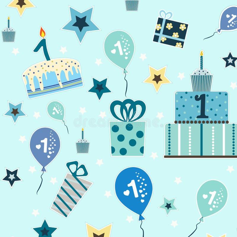 Teste padrão sem emenda, primeiro aniversário do bebê ilustração royalty free