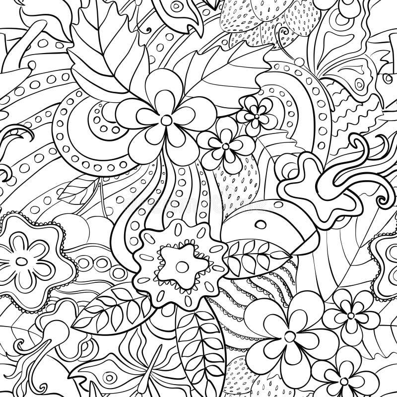 Teste padrão sem emenda psicadélico abstrato preto e branco ilustração stock