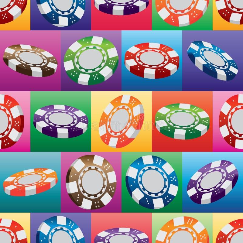 teste padrão sem emenda quadrado colorido da moeda do casino 3d ilustração stock