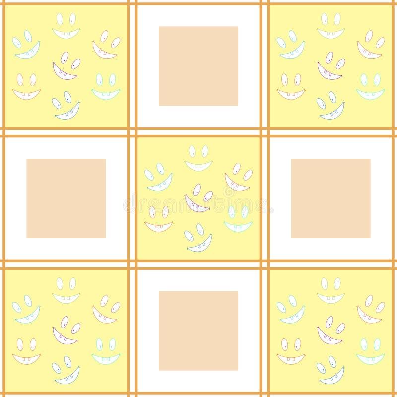 Teste padrão sem emenda quadriculado alegre com riso de smiley toothy ilustração do vetor