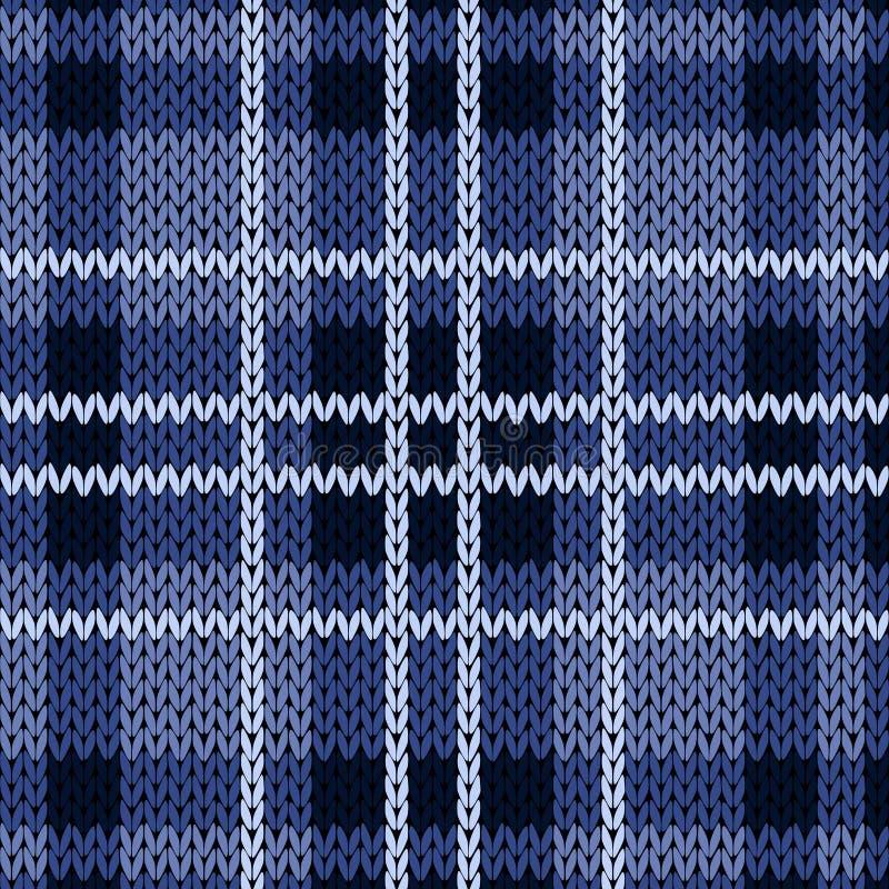 Teste padrão sem emenda quadriculado de confecção de malhas em várias matiz azuis ilustração stock