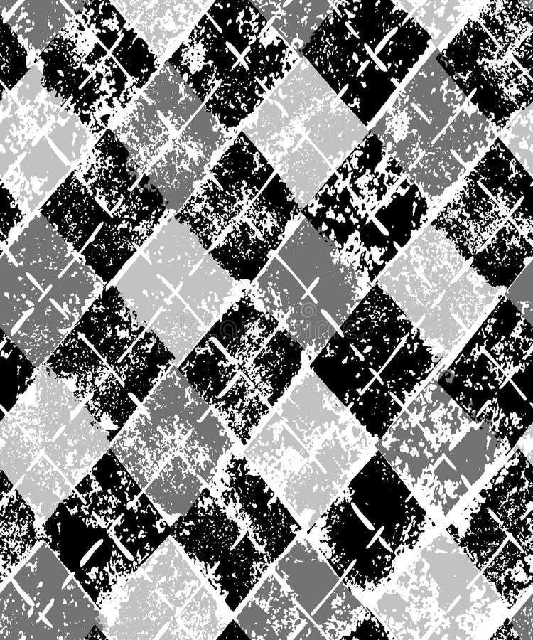 Teste padrão sem emenda quadriculado geométrico do argyle preto e branco da cópia do grunge, vetor ilustração stock