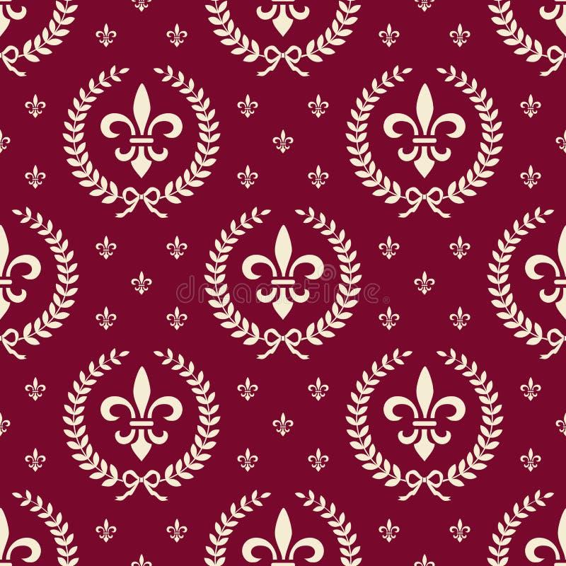Teste padrão sem emenda real vermelho de matéria têxtil ilustração stock