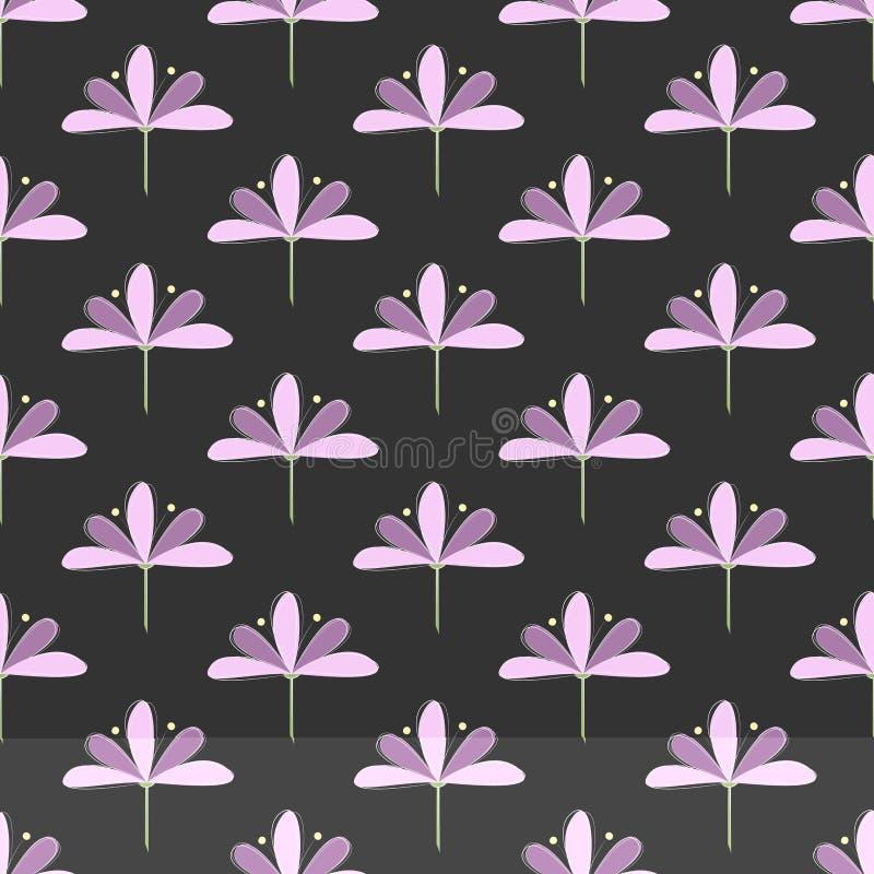Teste padrão sem emenda: Repetindo o und Violet Blooms de Lila no fundo escuro ilustração royalty free