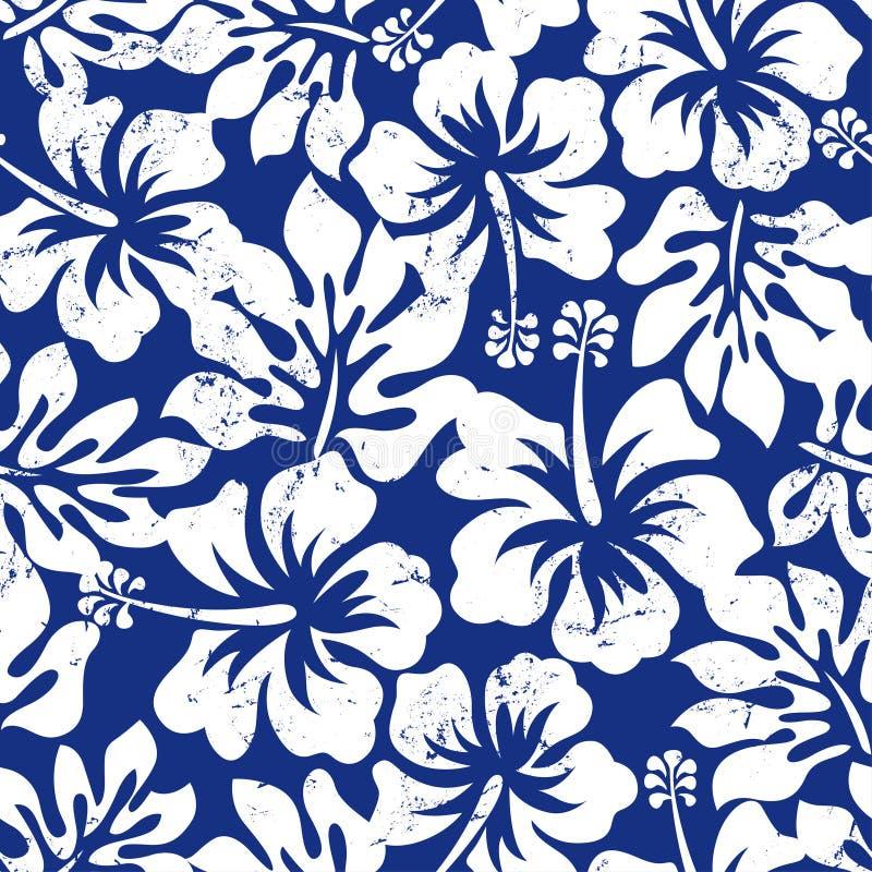 Teste padrão sem emenda resistido tropical do hibiscus ilustração stock