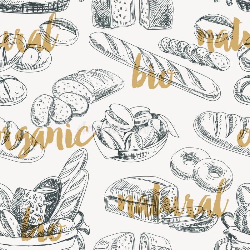 Teste padrão sem emenda retro do pão do vetor ilustração royalty free
