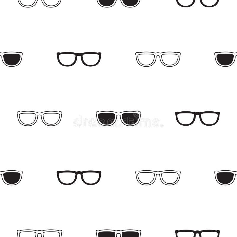 Teste padrão sem emenda retro dos óculos de sol em preto e branco ilustração royalty free