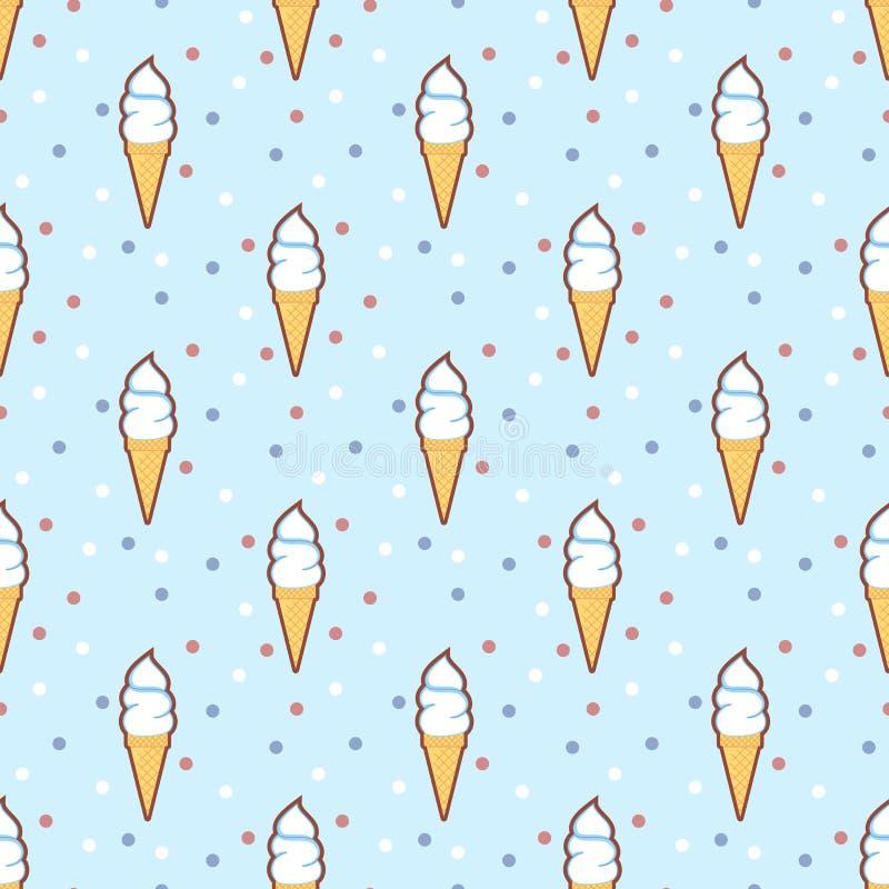 Teste padrão sem emenda retro dos cones de gelado ilustração stock