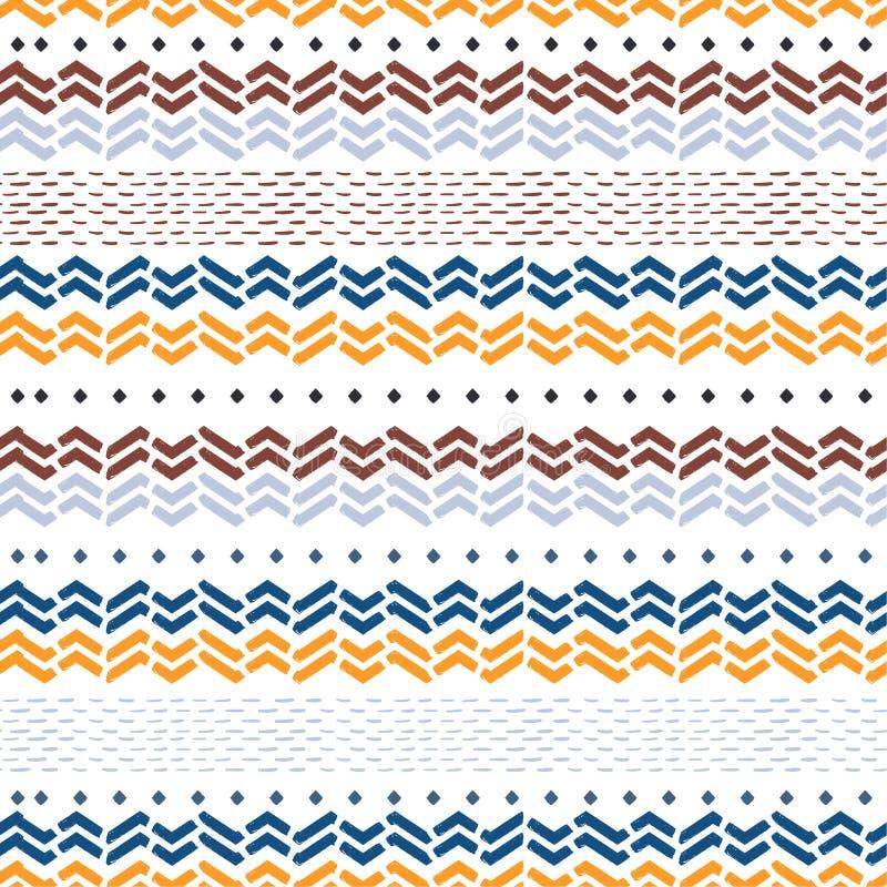 Teste padrão sem emenda retro em ondas tiradas do ziguezague da viga do vetor mão bonita na listra horizontal Projeto para a form ilustração royalty free