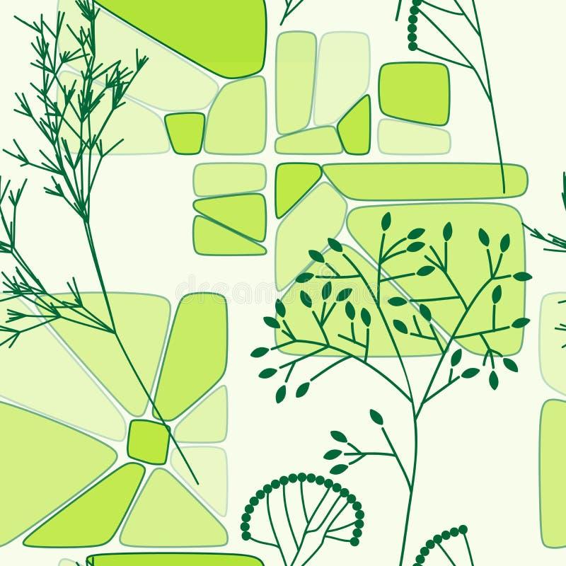Teste padrão sem emenda retro floral verde ilustração do vetor
