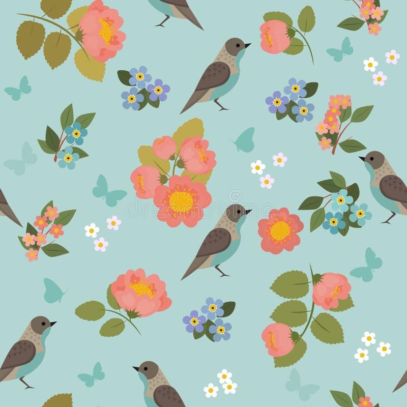 Teste padrão sem emenda romântico com pássaros, borboletas e flores ilustração do vetor