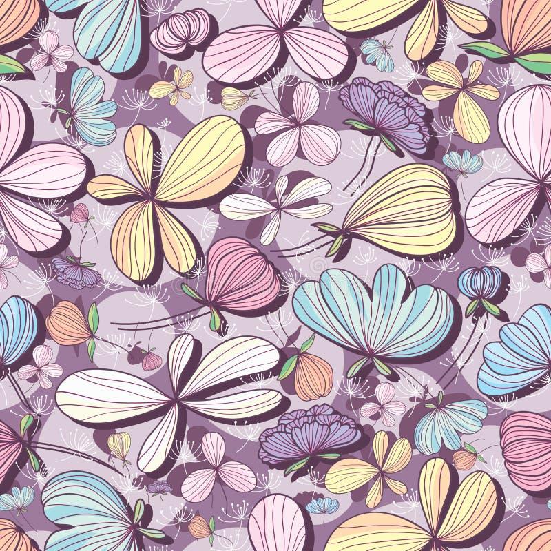 Teste padrão sem emenda roxo pastel da flor ilustração stock