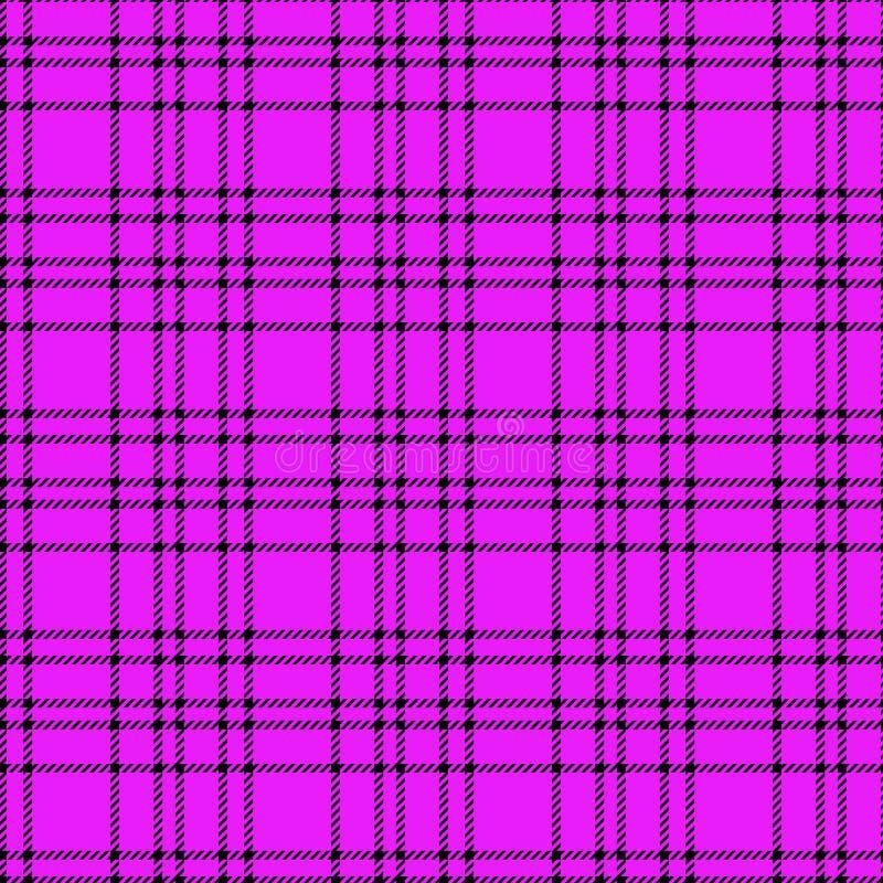 Teste padrão sem emenda roxo preto monocromático mínimo do pixel da manta da verificação da tartã para projetos da tela Fundo vic ilustração royalty free