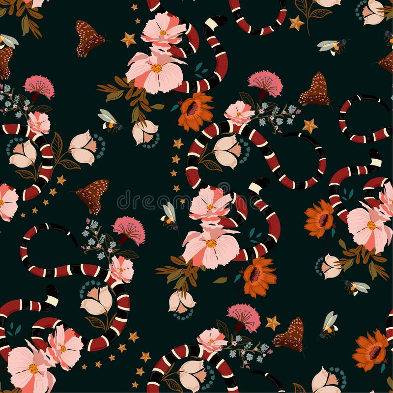 Teste padrão sem emenda, serpente na moda com o vecto do projeto gráfico das flores ilustração stock