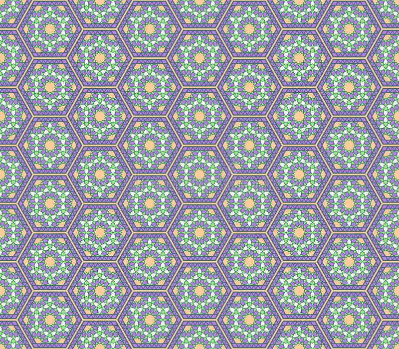 Teste padrão sem emenda sextavado lilás das cores verdes do estilo de Médio Oriente ilustração do vetor